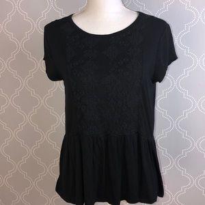 Black boho blouse L